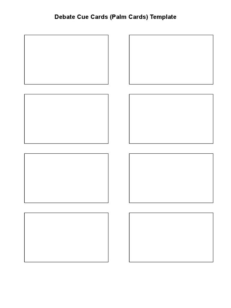 Debate Cue Cards Template  PDF Throughout Cue Card Template