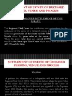 Settlement of Estate of Deceased Persons Venue