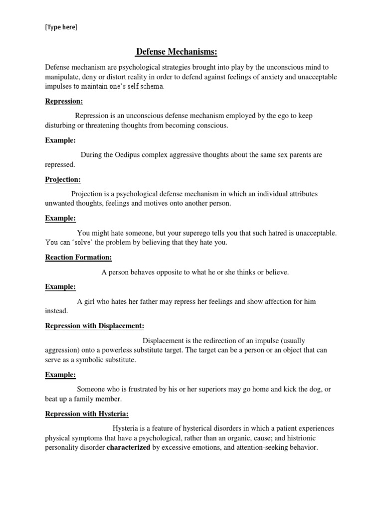 Defense Mechanisms Type Here Defence Mechanisms Psychoanalysis