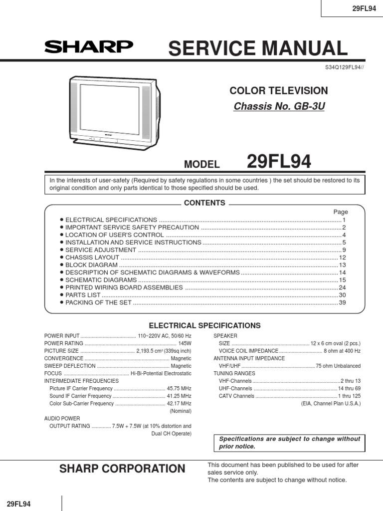 Sharp Tv Schematic Diagram - Wiring Diagram Page