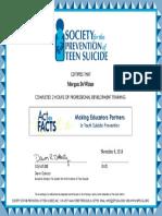 suicide prevention cert