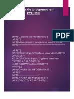 Cálculos utilizando PYTHON