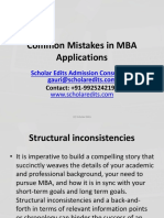 Common Mistakes in MBA Applications