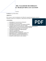 Taller de Salud Ocupcional y Primeros Auxilios Mina San Agustin