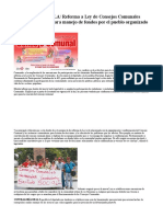 Reforma a Ley de Consejos Comunales amplía mecanismo para manejo de fondos por el pueblo organizado