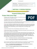 Proposal Writing Hints