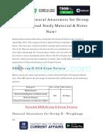 Prepare General Awareness for Group D 1