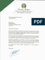 Carta de solidaridad del presidente Danilo Medina a Emmanuel Macron, presidente de la República Francesa, por incendio en la Catedral de Notre Dame