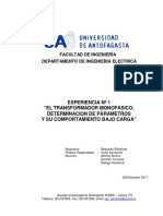 Experiencia N°1 - Transformadores Monofásicos