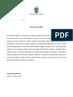 Declaración Pública UBB-2019
