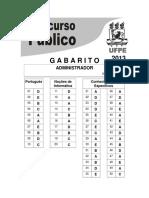 UFPE 2013 gabarito NÍVEL SUPERIOR