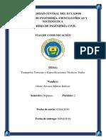 Transporte Terrestre y Especificaciones Técnicas Viales