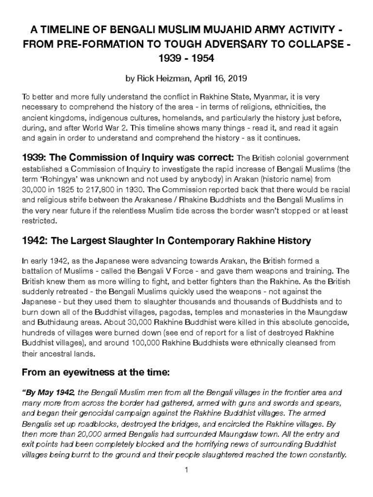 A Timeline of Mujahid Activity in Rakhine State | Mujahideen