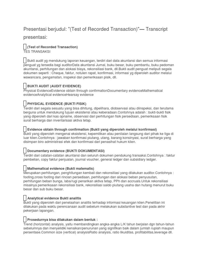 Presentasi Berjudul Test Of Recorded Transaction Transcript Presentasi