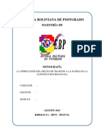 Monografia Derecho - Traicion a La Patria Tipificada en Cpe - Codigo Penal