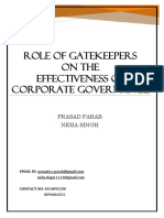 Role of Gatekeepers on the Effectiveness of Corporate Governance