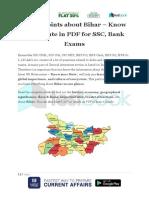 Major Points About Bihar