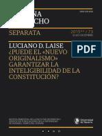 L. Laise. Puede El Nuevo Originalismo Garantizar La Inteligibilidad de La Constitución