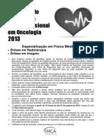 Prova Fisica Medica 2013 INCA