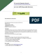 JOPR Reviewer Application Form