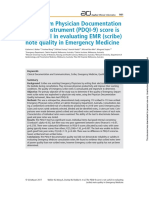 The 9-Item Physician Documentation Quality Instrument (PDQI-9) score is not useful in evaluating EMR (scribe) note quality in Emergency Medicine.