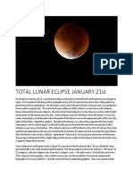 Total Lunar Eclipse January 21st