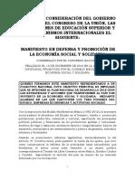 Manifiesto Del Congreso Nacional de La Economía Social y Solidaria