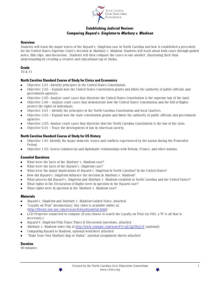Bayardvsingletonnc Marbury V Madison United States Constitution