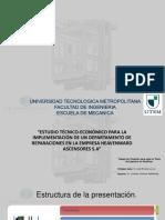 PPT EVALACION TECNICO-ECONOMICA PARA LA IMPLEMENTACION DE UN DEPARTAMENTO DE REPARACIONES EN LA EMPRESA HEAVENWARDASCENSORES.pptx