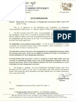 Office Memorandum Regarding M&v Under PAT Cycle - II
