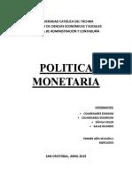 Politica Monetaria Trabajo.