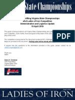 Virginia State Championships Logistics Update 16 April 2019