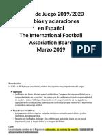 Reglas de Juego 2019-2020 Cambios PDF