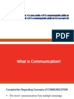 Basic Concepts of Communication & the Filed of Communication Research
