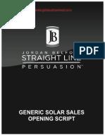 Generic Solar Sales Opening Script