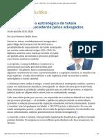 ConJur - Mello Porto_ O Uso Estratégico Da Tutela Antecipada Antecedente
