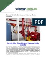 Normatividad Colombiana en Sistemas Contra Incendio