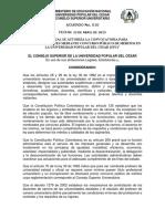 Acuerdo No. 010 Del 23 de Abril de 2015- Autoriza Convocatoria Vinculacion Docentes Concurso Publico