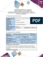 Guía de actividades y rúbrica de Evaluacion - Paso 1 - Desarrollar reconocimiento la reflexión sobre el oficio del docente investigador.