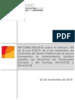 Informe Sobre El Árticulo 150 de La LCSP 9-2017. [CNMC]
