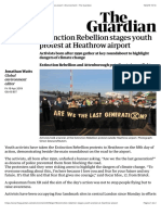 Extinction Rebellion stages youth protest at Heathrow airport | Environment | The Guardian