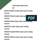DRESSTA Motor Grader Spare Parts Catalog Manual