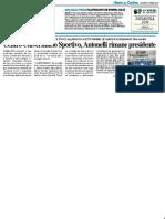 Centro Universitario Sportivo, Antonelli resta Presidente - Il Resto del Carlino del 18 aprile 2019