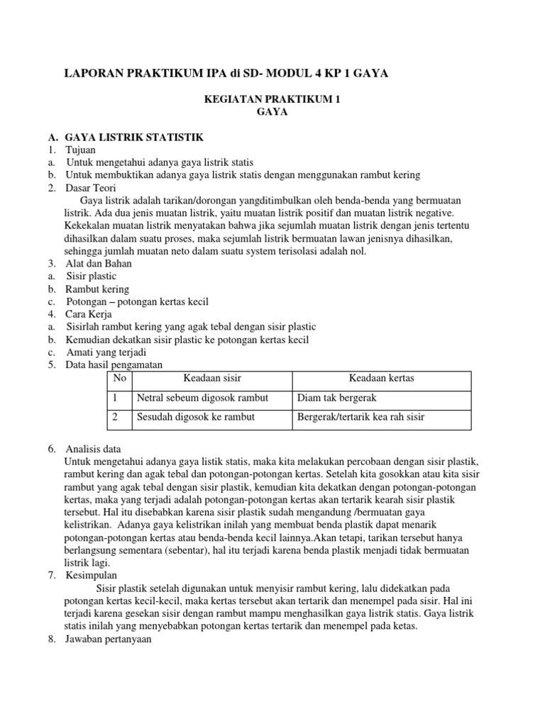 Contoh Laporan Praktikum Ipa Di Sd