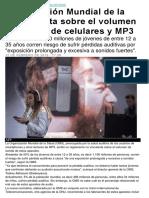 Organización Mundial de la Salud alerta sobre el volumen de audios de celulares y MP3.docx