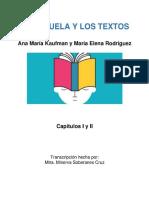 La Escuela y Los Textos Ana Maria Kaufman y Maria Elena Rodriguez