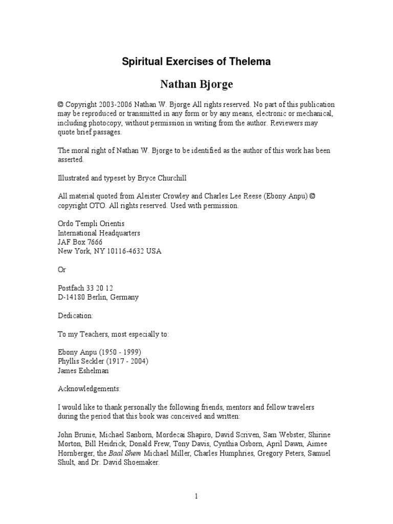 Nathan Bjorge - Spiritual Exercises of Thelema pdf | Thelema
