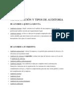 Clasificación y Tipos de Auditoria