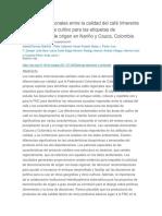 Relaciones Regionales Entre La Calidad Del Café Inherente y El Ambiente de Cultivo Para Las Etiquetas de Denominación de Origen en Nariño y Cauca