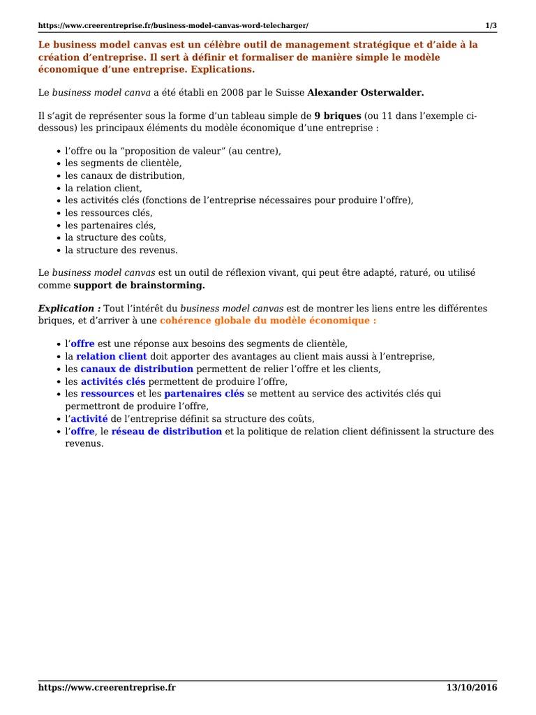 Business Model Canvas Word Telecharger Modèle D Entreprise